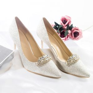 Sparkly Silver Glitter Wedding Shoes 2018 Leather Sequined Rhinestone 8 cm Stiletto Heels Pointed Toe Wedding Pumps