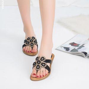 Chic / Beautiful Summer Black Beach Slipper & Flip flops 2020 Pearl Rhinestone Open / Peep Toe Womens Shoes
