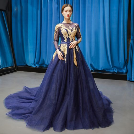 Luxury / Gorgeous Navy Blue See-through Evening Dresses  2019 A-Line / Princess Scoop Neck Long Sleeve Gold Appliques Lace Beading Sash Court Train Ruffle Backless Formal Dresses