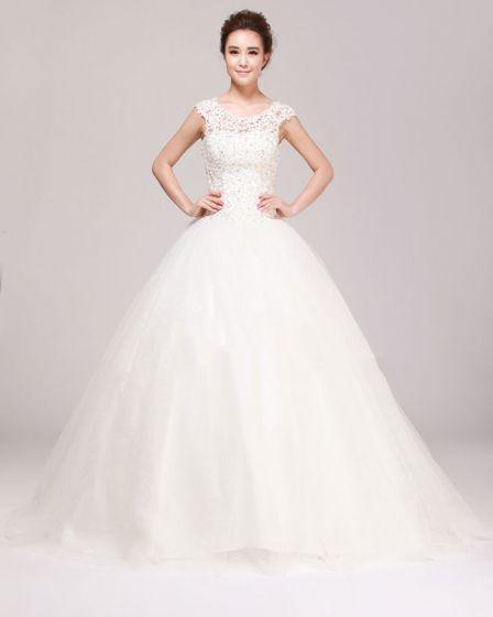 Wokol Szyi Rhinestone Aplikacja Koronki Linie Suknie ślubne Suknia