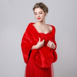 Red Faux Fur Shawls Wedding Evening Party Prom 2017