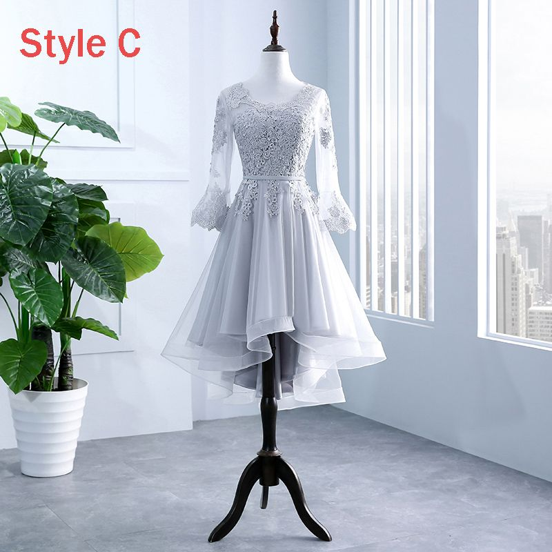Chic / Beautiful Grey Pierced Bridesmaid Dresses 2018 A-Line / Princess Scoop Neck Long Sleeve Appliques Lace Sash Ruffle Backless Wedding Party Dresses
