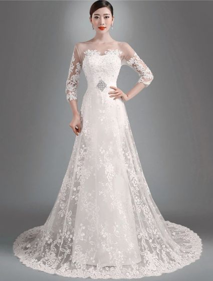 2015 Elegant A-line Princess Shoulders 3/4 Sleeves Embroidered Organza Wedding Dress