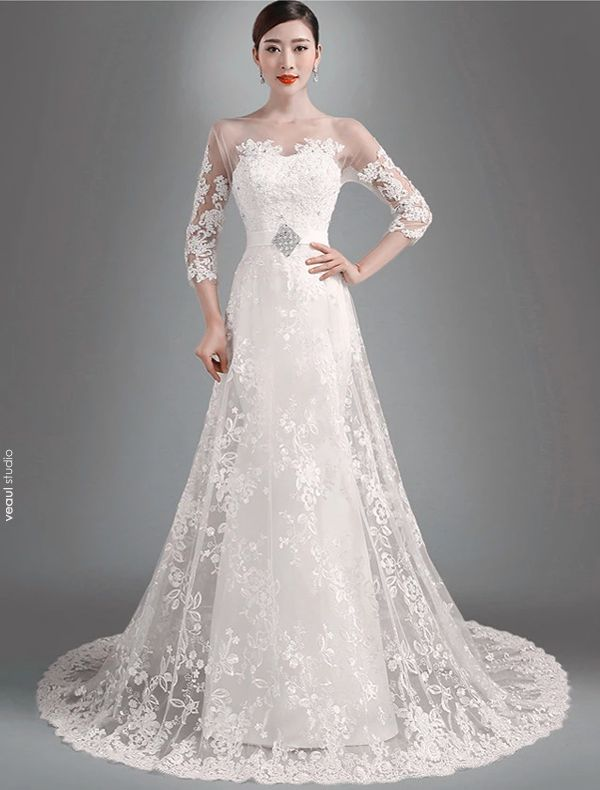 2015 Elegant A-line Princess Shoulders 3/4 Sleeves Embroidered Organza Wedding Dress