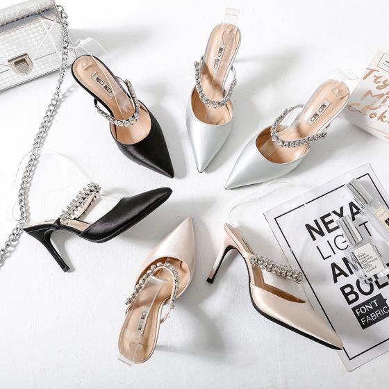 Chic / Belle Argenté Désinvolte Sandales Femme 2019 Cuir Satin Faux Diamant 9 cm Talons Aiguilles Sandales À Bout Pointu