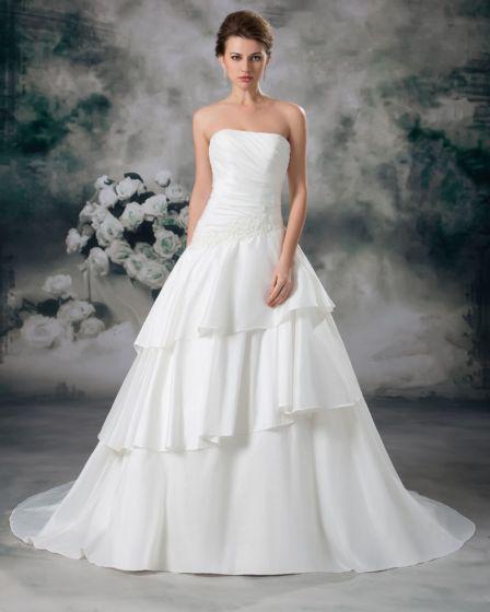 Satinapplique Bodenlange Trägerlosen Abendkleid Abgestufte Frauen A Linie Hochzeitskleid