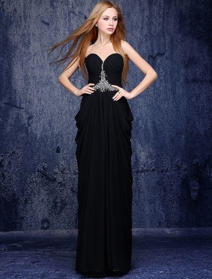 Elegant Black Evening Dresses 2016 A-line Sweetheart Beading Crystal Ruffled Chiffon Long Dress