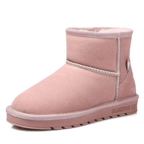 Lovely Womens Boots 2017 Candy Pink Leather Ankle Suede Casual Winter Flat Snow Boots