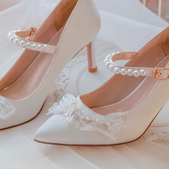 Elegante Witte Satijn Bruidsschoenen 2020 Parel Kant Bloem 7 cm Naaldhakken / Stiletto Spitse Neus Huwelijk Pumps