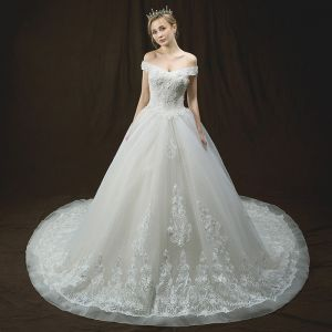 Luxury / Gorgeous Ivory Wedding Dresses 2018 A-Line / Princess Off-The-Shoulder Short Sleeve Backless Appliques Lace Glitter Tulle Sequins Pearl Royal Train Ruffle