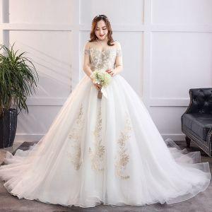 Glamour Blanche Robe Boule Grande Taille Robe De Mariée 2019 En Dentelle Tulle Appliques Dos Nu Bustier Chapel Train Mariage
