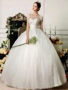 2015 Sweetheart Scoop Neck Beading Short Sleeves Floor-length Ball Gown Wedding Dress