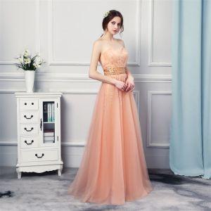 Edles Orange Abendkleider 2019 A Linie Herz-Ausschnitt Ärmellos Strass Perlenstickerei Lange Rüschen Rückenfreies Festliche Kleider