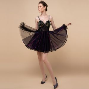Sexy Moderne / Mode Noire Courte Robe De Cocktail 2018 Princesse Tulle Dos Nu Perlage Faux Diamant Cocktail Robe De Ceremonie