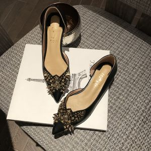 Chic / Beautiful Black Gold Evening Party Womens Shoes 2020 Leather Rivet 8 cm Stiletto Heels Pointed Toe High Heels