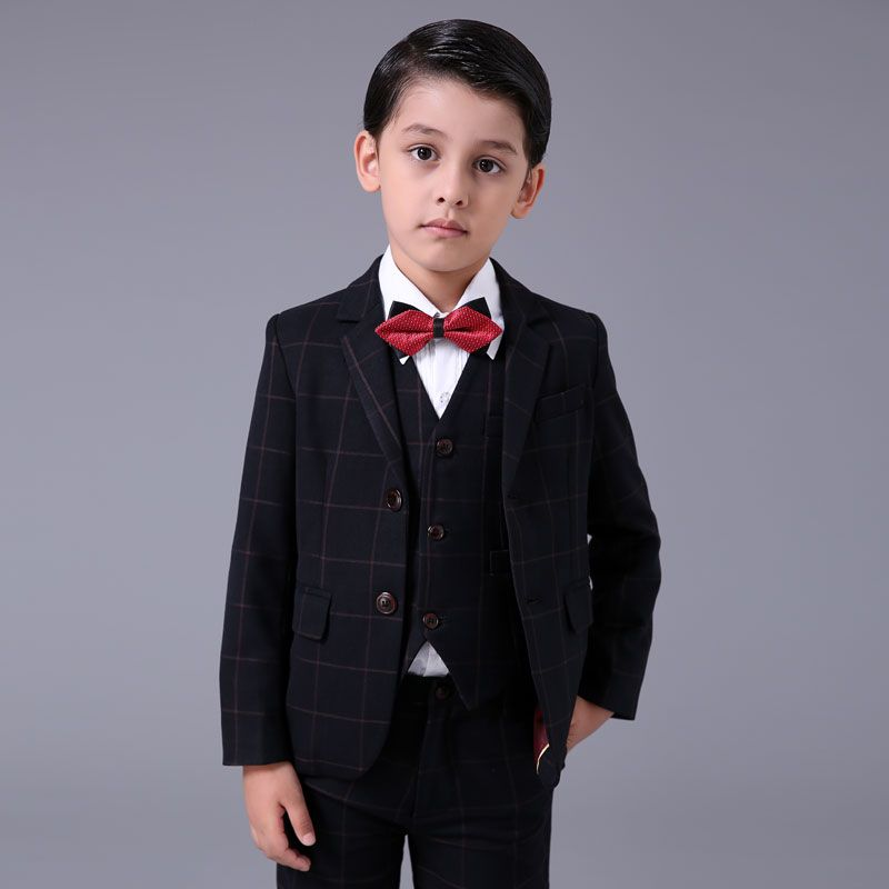 Modest / Simple Red Checked Long Sleeve Boys Wedding Suits 2017