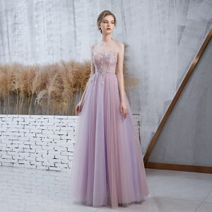 Elegant Lavender Prom Dresses With Shawl 2020 A-Line / Princess Spaghetti Straps Sleeveless Beading Glitter Tulle Floor-Length / Long Ruffle Backless Formal Dresses