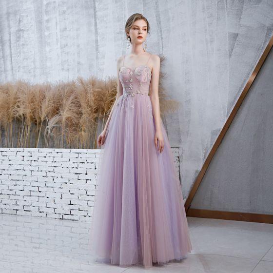 Elegant Lavender Prom Dresses With Shawl 2020 A-Line / Princess Spaghetti Straps Sleeveless Beading Glitter Tulle Floor-Length / Long Ruffle Backless Formal Dresses