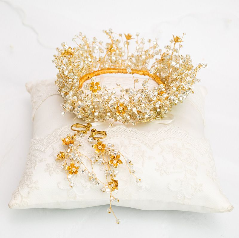 Stunning Gold Bridal Hair Accessories 2020 Alloy Beading Tiara Earrings Wedding Accessories