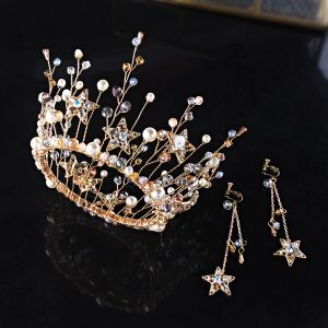 Schöne Gold Brautschmuck 2019 Metall Diadem Ohrringe Star Kristall Perle Brautaccessoires