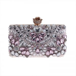 Chic / Beautiful Blushing Pink Square Clutch Bags 2020 Metal Pearl Rhinestone