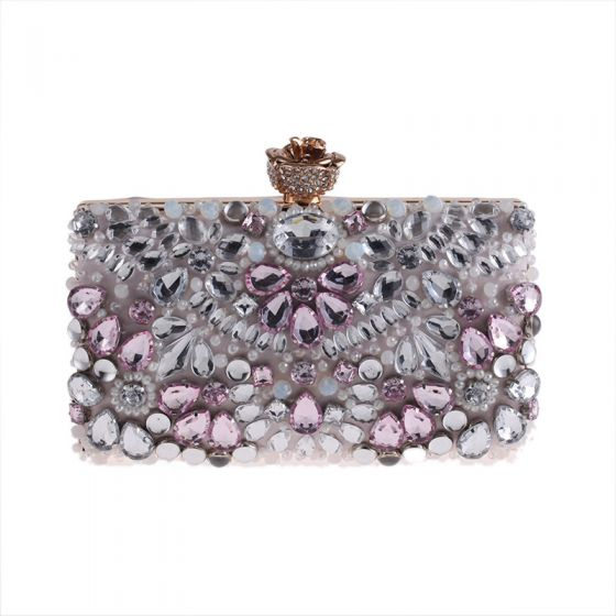 Chic / Beautiful Blushing Pink Square Clutch Bags 2020 Metal Pearl Rhinestone