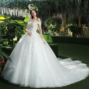 Chic / Beautiful White Wedding Dresses 2018 Ball Gown Appliques Rhinestone Off-The-Shoulder Backless Sleeveless Royal Train Wedding