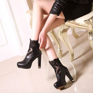 Amazing / Unique Black Womens Boots 2017 Prom PU Lace Ankle Pierced Platform High Heel Round Toe Boots