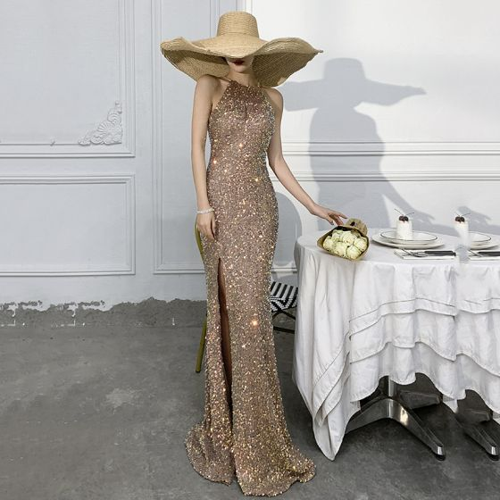 Sparkly Gold Trumpet / Mermaid Evening Dresses  2021 Scoop Neck Sequins Sleeveless Floor-Length / Long Evening Party Formal Dresses