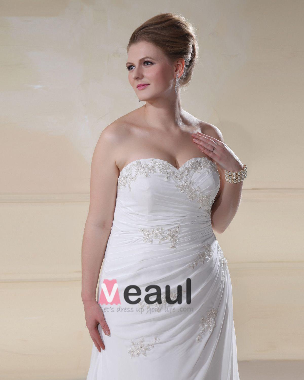 Stylish Sweetheart Beading Embroidery Court Train Plus Size A-Line Wedding Dress