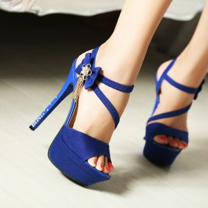 Chic / Beautiful Royal Blue Cocktail Party Womens Sandals 2020 Rhinestone Bow Ankle Strap 14 cm Stiletto Heels Open / Peep Toe Sandals