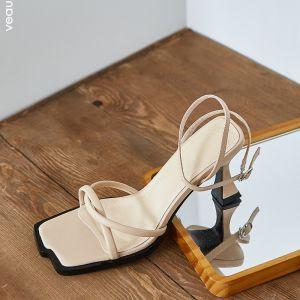 Schlicht Sommer Freizeit Beige Sandalen Damen 2020 Leder Knöchelriemen 7 cm Stilettos Peeptoes Sandaletten
