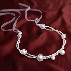 Elegant White Pearl Headbands Bridal Hair Accessories 2020 Lace-up Wedding Headpieces