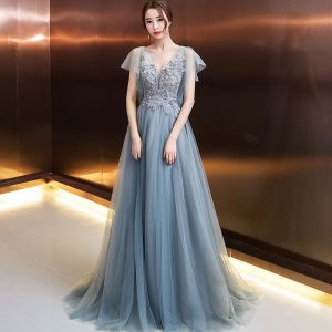 Elegant Evening Dresses  2018 A-Line / Princess Appliques Beading Crystal Pearl V-Neck Backless Short Sleeve Floor-Length / Long