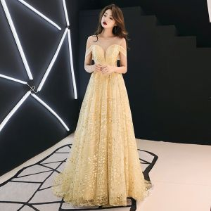 Modern / Fashion Gold See-through Evening Dresses  2019 A-Line / Princess Scoop Neck Short Sleeve Glitter Tulle Sweep Train Ruffle Backless Formal Dresses