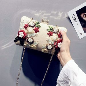 Charming Gold Clutch Bags Beading Flower Pearl Wedding Evening Party Accessories 2019