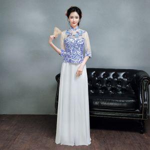 Chinesischer Stil Königliches Blau Lange Abendkleider 2018 A Linie 3/4 Ärmel Rückenfreies Drucken Tülle Abend Festliche Kleider
