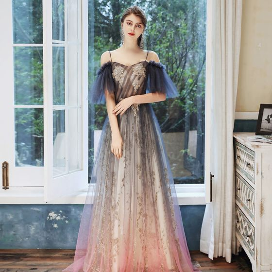 Chic / Beautiful Navy Blue Gradient-Color Candy Pink See-through Evening Dresses  2020 A-Line / Princess Spaghetti Straps Short Sleeve Appliques Beading Sequins Glitter Tulle Floor-Length / Long Ruffle Backless Formal Dresses