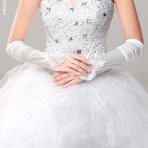 Eenvoudige Elegante Lange Bruid Handschoenen