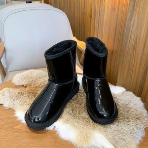 Enkel Svart Snow Boots 2020 Ull Patent Lær Vinter Casual Hage / utendørs Flate Rund Tå Kvinners støvler