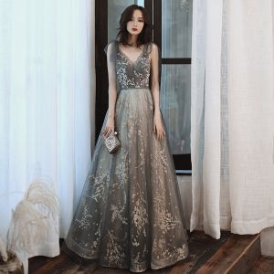 Fashion Grey Gold Evening Dresses  2020 A-Line / Princess V-Neck Rhinestone Sequins Lace Flower Sleeveless Backless Floor-Length / Long Formal Dresses