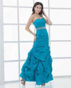 Ruffle Sweetheart Floor-Length Taffeta Womens Evening Dress