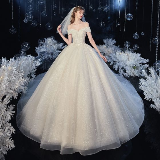 Chic / Beautiful Champagne Bridal Wedding Dresses 2020 Ball Gown Off-The-Shoulder Short Sleeve Backless Appliques Leaf Beading Glitter Tulle Cathedral Train Ruffle