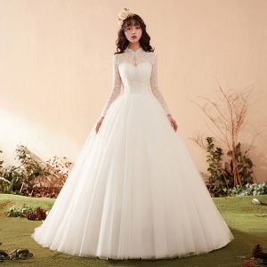 Elegant Ivory Wedding Dresses 2018 Ball Gown Lace Scoop Neck Backless Long Sleeve Chapel Train Wedding