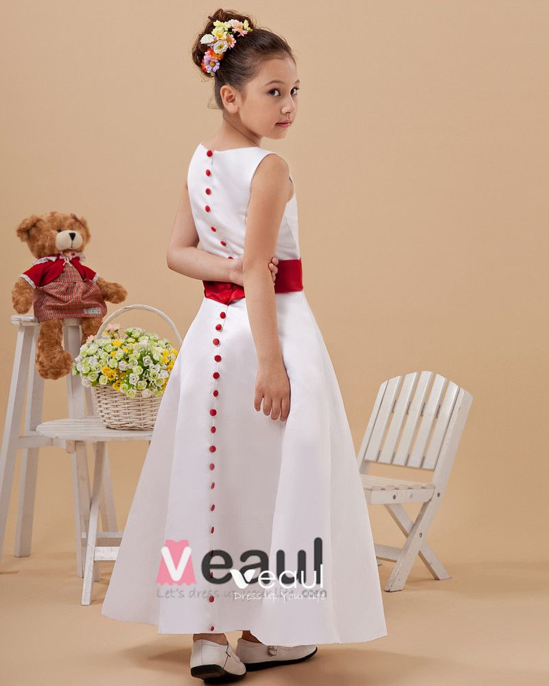 A-Line Jewel Satin Ankle Length Flower Girl Dress