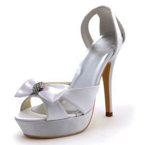 White Satin Wedding Shoes High With Hollow Faces Set Foot Party Shoes