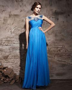 Tencel Floor Length Sleeveless Evening Dresses