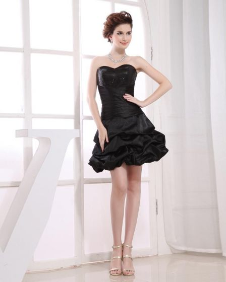 Sweetheart Neckline Thigh Length Sleeveless Beading Pleated Taffeta Woman Little Black Cocktail Dress