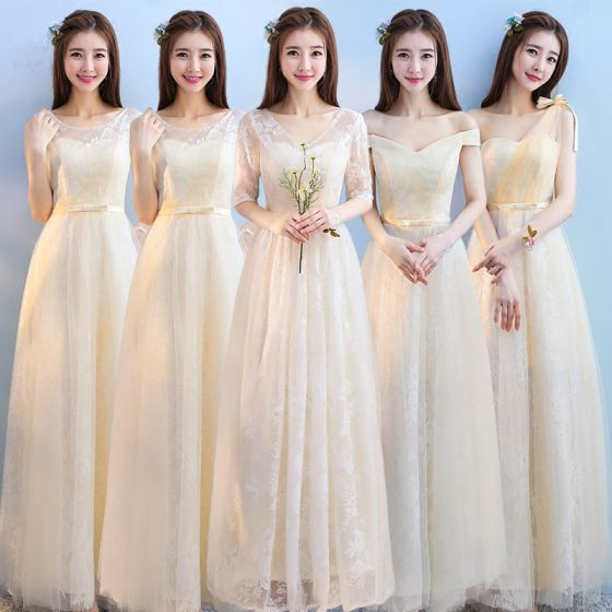 Discount Champagne Bridesmaid Dresses 2018 A-Line / Princess Appliques Lace Bow Sash Floor-Length / Long Ruffle Backless Wedding Party Dresses