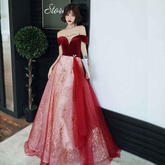 Charming Burgundy Prom Dresses 2020 A-Line / Princess Suede Off-The-Shoulder Sequins Lace Flower Sleeveless Backless Floor-Length / Long Formal Dresses